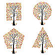 Trees Of Different Geometric Shapes. Vector Set. stock illustration