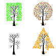 Trees Of Different Geometric Shapes. Vector Set. stock vector