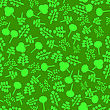 Trees Silhouettes Seamless Pattern On Green. Forest Background