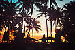 Tropical Beach With Palm Trees And Umbrellas Silhouettes In Sunset Light. Vintage Instagram Effect