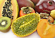 Tropical Fruits Assortment On White Background , Close Up stock photo