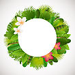 Tropical Leaves Frame. Floral Jungle Design Background