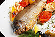 Trout Fish Baked With Pepper, String Beans, Tomato And Cauliflower stock image