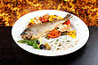 Rainbow Trout Fish Baked With Pepper, String Beans, Tomato And Cauliflower stock image