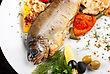 Trout Fish Baked With Pepper, String Beans, Tomato And Cauliflower stock photography