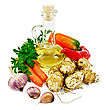 Autumn Tubers Of Jerusalem Artichoke, Garlic, Carrots, Parsley, Sweet And Spicy Red Pepper, A Bottle Of Vegetable Oil stock photo