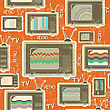 Tv Retro Seamless Pattern.Vintage Background On Old Paper stock image