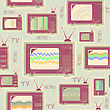 Tv Seamless Pattern.Vintage Background On Old Paper stock image