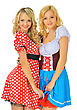 Two Beautiful Blonde Women In Carnival Costumes Of Mouse And Snow White. Isolated Image. stock photo