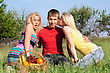Two Beautiful Blonde And Young Man Outdoors