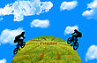 Two Bikers On Green Earth. stock image