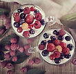 Two Cups Of Yogurt With Berries,top View stock image