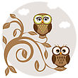 Two Cute Owls On The Tree Branch Greetings Card