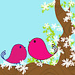 Two Doodle Birds In A Blossom Tree, Spring Background Card stock vector