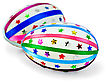 Two Easter Eggs, Decorated With Multicolored Braid And Sparkles In The Form Of Stars Isolated On White Background stock image