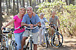 Two Elderly Couples On Bike Ride stock photo