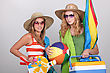 Cooler Two Girls Going To The Beach stock image
