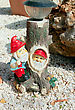 Two Gnomes On The Pebbles. stock photo