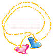 Two Golden Jewelry Chains With Heart Pendants