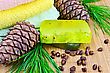 Two Green Homemade Soap, The Cedar Cone With A Branch, Nuts Cedar, Three Towels On A Bamboo Mat stock photo