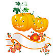 Two Halloween Pumpkins And A Floral Banner stock illustration
