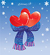 Two Hearts Conjuncted Of Warm Scarf. Valentines Card