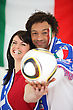 Two Italian Football Supporters stock photo