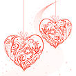 Two Lacy Heart On A String On The Starry Dust stock illustration