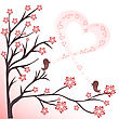 Two Love Birds On Flowering Branches Sing A Song stock image