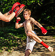 Two Man Training Muay Thai In Forest stock image