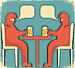 Two Men Drinking Glasses Of Beer.Vintage Poster stock image
