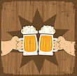 Two Men With Glasses Of Beer Who Toast.Vector Grunge Poster stock illustration