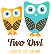 Two Owl Logos In Flat Style. Vector Logotype For Shop, Entertaiment, Education Company, School, Kindergarden, Library And Other