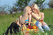 Two Pretty Blonde With Wineglasses Sitting On A Grass