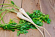 Two Roots With Green Parsley Leaves On The Background Of Wooden Boards stock photo