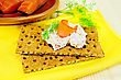 Two Rye Bread With Mayonnaise And A Slice Of Fish, Dill, Salmon Pieces On A Clay Plate, The Yellow Cloth On The Background Of Wooden Boards stock image