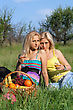Two Sensual Blonde With Wineglasses Sitting On A Grass