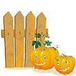 Two Smiling Pumpkins Over A Wooden Fence. Stylized Cartoon Elements