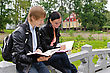 Students Two Students Studying Outdoors stock photography