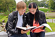 Two Students Studying Outdoors stock image