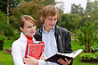 Two Students Studying Outdoors stock photography