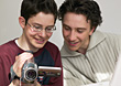 Two Teenage Boys With Video Camera stock image