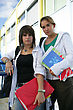 Highschool Two Teenage Girls Going To Their Next Lesson stock photo