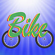 Two Wheels On Blue Rays Background. Symbol Of Bicycle