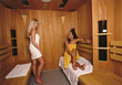 Two Women in Sauna stock photo