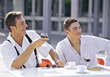 Two Young Men Having Coffee stock image