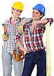 Makeover Two Young Women Laborers In Workwear stock photography