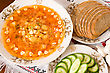 Ukrainian Restaurant - Borsch, Black Bread And Vegetables stock photo