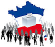 Urn With A Crowd Of Voters On A Map Of France For Democratic Elections Political Parties