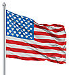 USA National Flag Waving In The Wind With Hearts Instead Of Stars